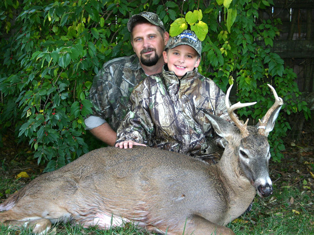 Karl and Jake Metzler - Jake's first deer